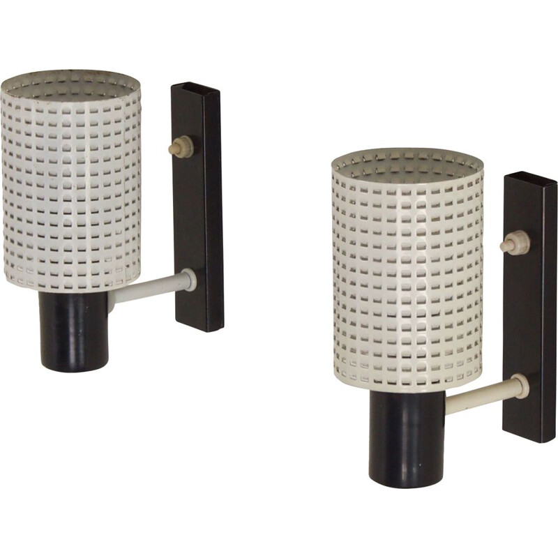 Pair of vintage Fiesta wall lamps by H. Busquet for Hala, 1960s