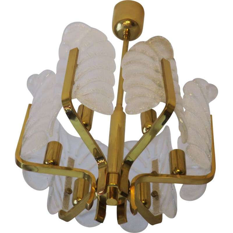 Vintage brass & glass acanthus leaf chandelier by Carl Fagerlund for Orrefors, 1960s