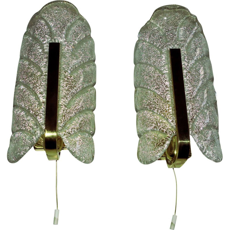 Pair of vintage brass and glass wall lamps by Carl Fagerlund for Orrefors, Sweden 1960s