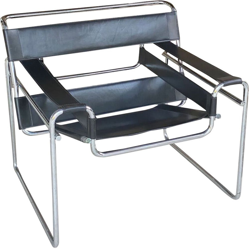 Vintage Wassily armchair in leather and chrome