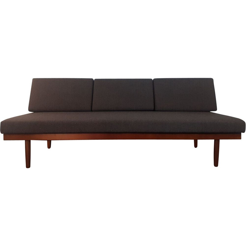 Vintage teak and anthracite fabric sofa bed by Ingmar Relling for Ekornes, Norway 1960