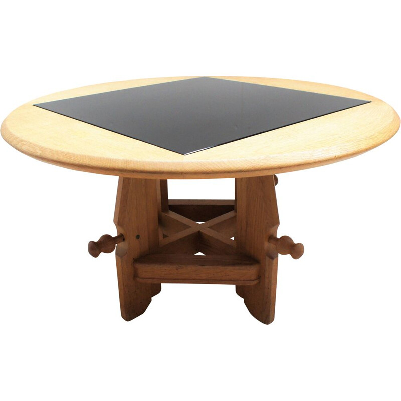 """Vintage """"rise and fall"""" table by Guillerme and Chambron"""