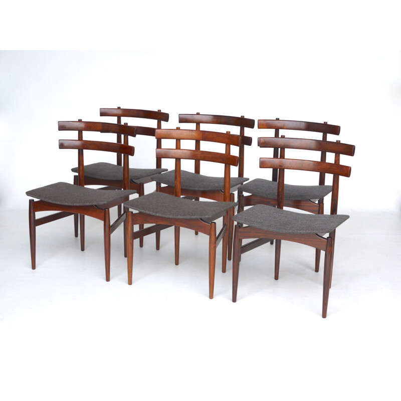 Set of 6 vintage Danish rosewood model 30 dining chairs by Poul Hundevad for Hundevad & Co., 1950s