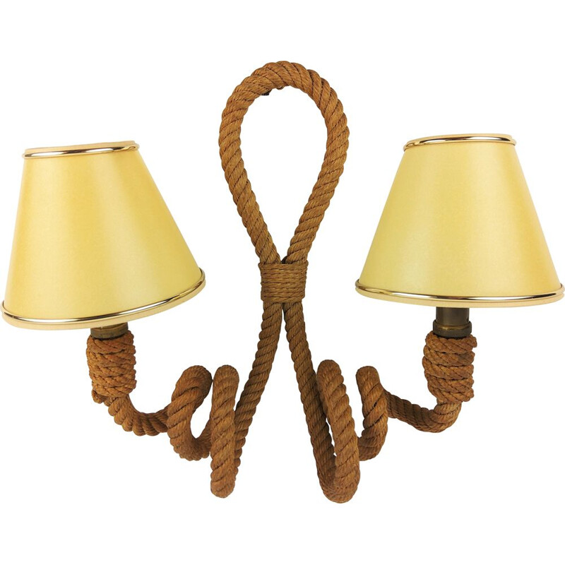Vintage rope wall lamp with 2 lights by Audoux-Minet, 1950