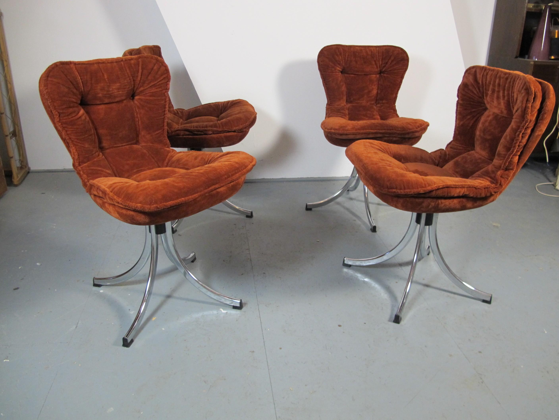 set of 4 italian rima dining chairs in brown velvet