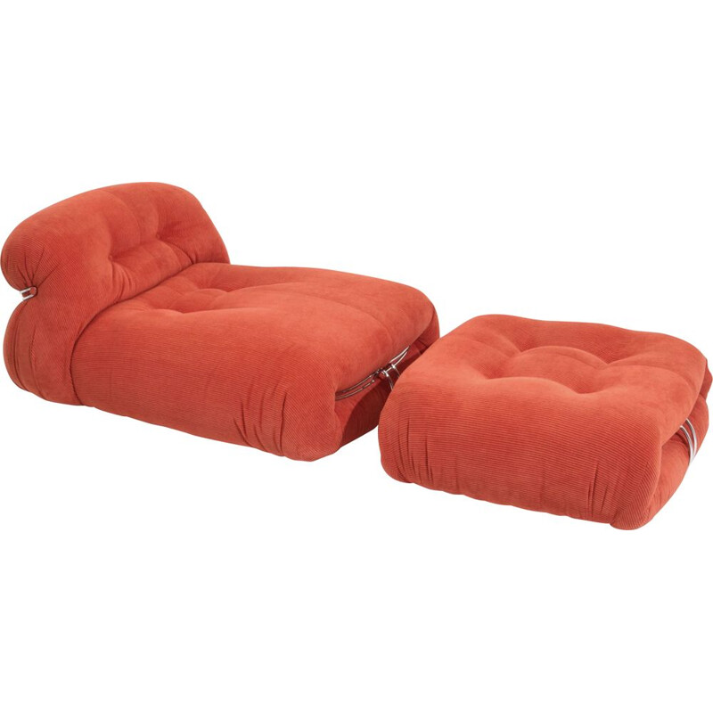 """Mid century """"Soriana"""" lounge chair with ottoman in red corduroy by Afra & Tobia Scarpa, 1969"""