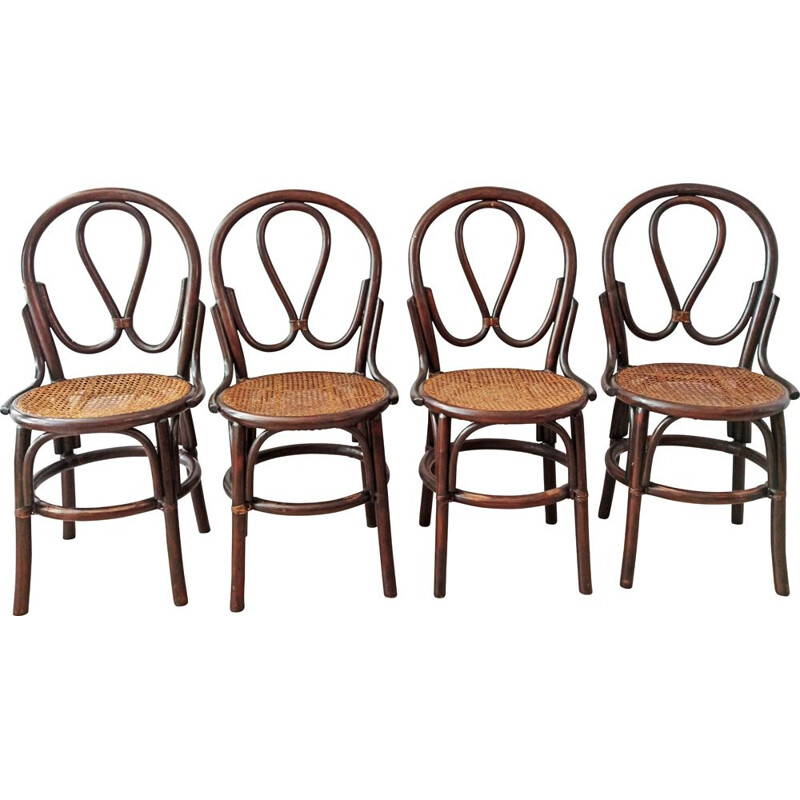 Set of 4 vintage bistro chairs with canes by J Pergay, 1982