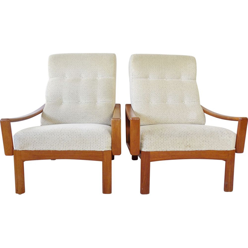 Pair of vintage teak armchairs by Grete Jalk for Glostrup, 1960s