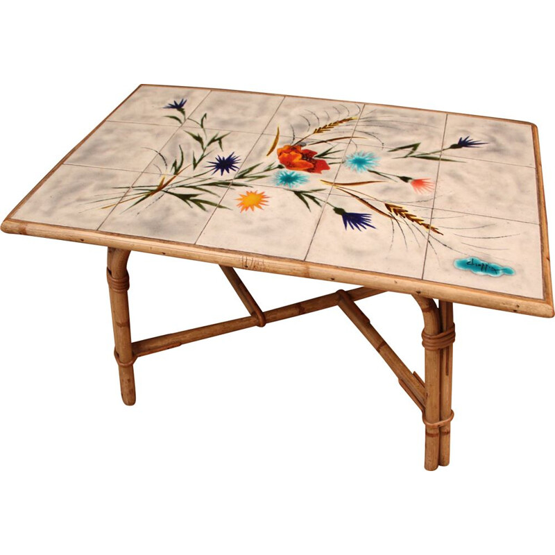 Vintage CHASSIN coffee table in rattan stamped by Audoux & Minnet, 1950