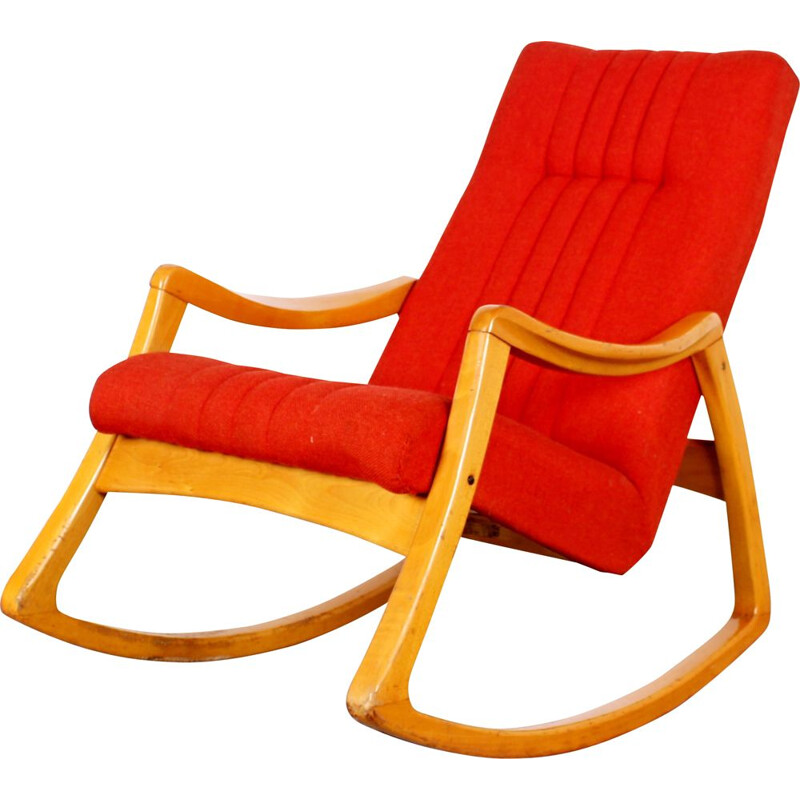 Mid century red rocking chair, 1970s