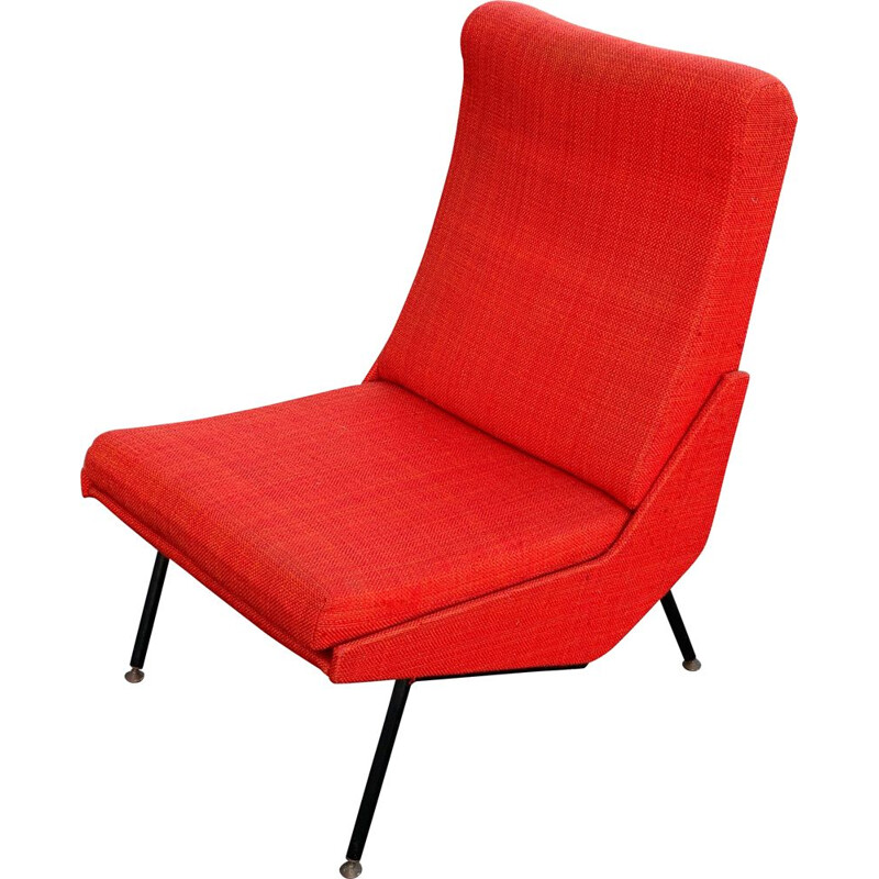 Vintage red armchair by Pierre Guariche, 1958