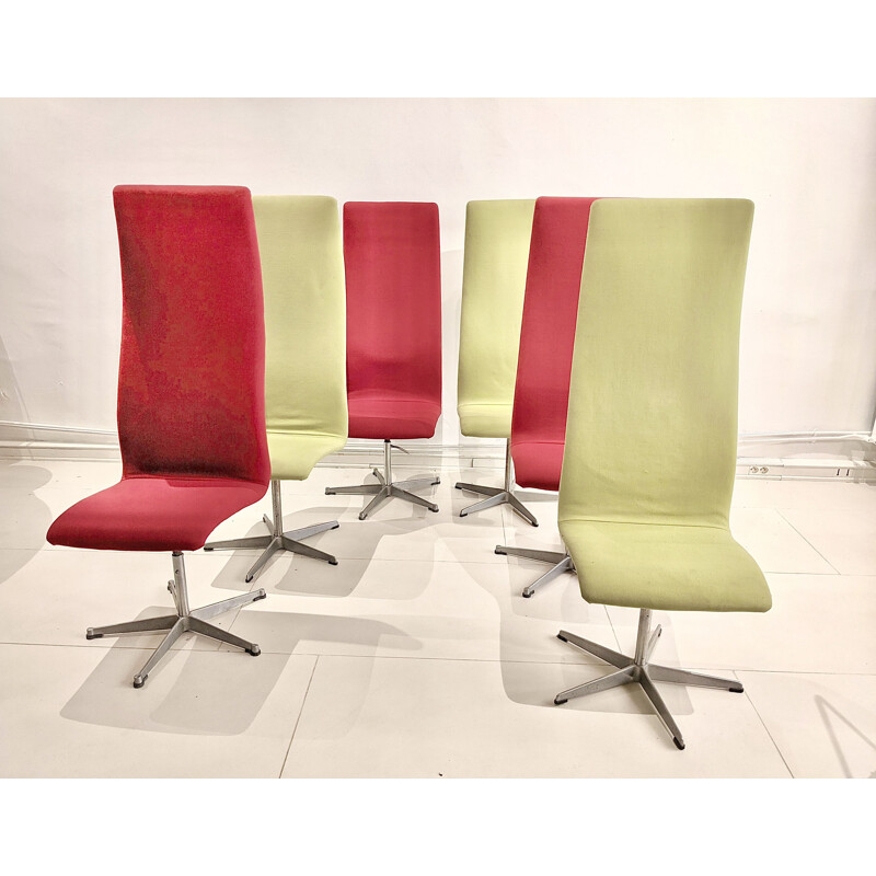 Set of 6 vintage Oxford chairs in green and red fabric by Arne Jacobsen for Fritz Hansen, 1970
