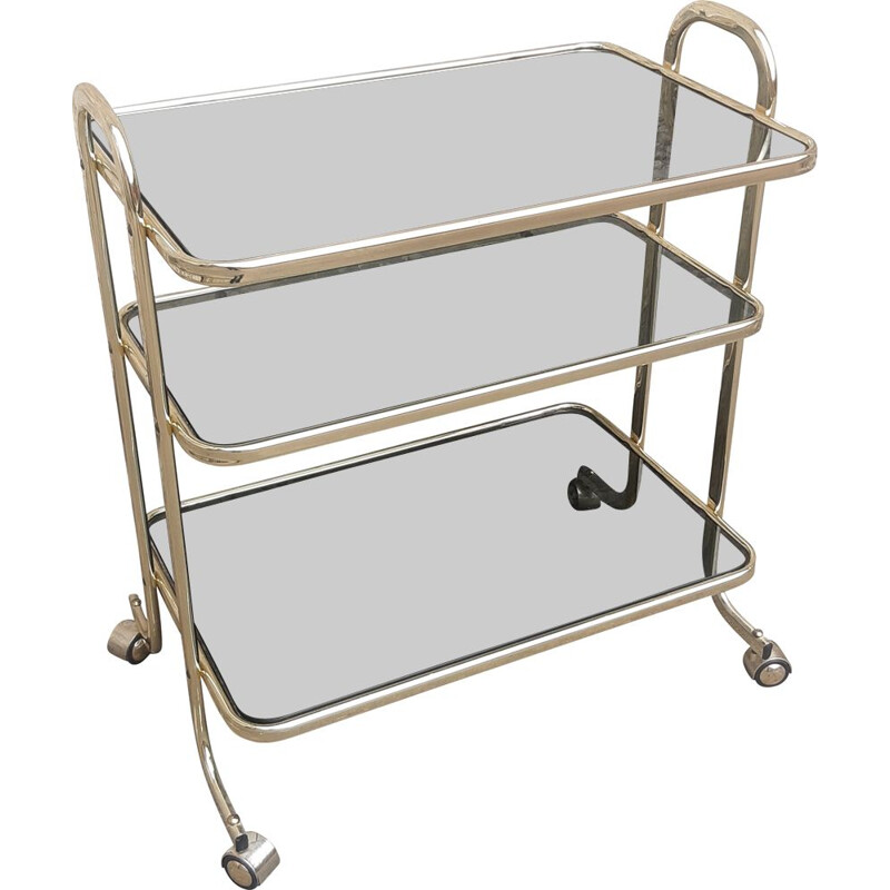 Mid century brass and glass trolley