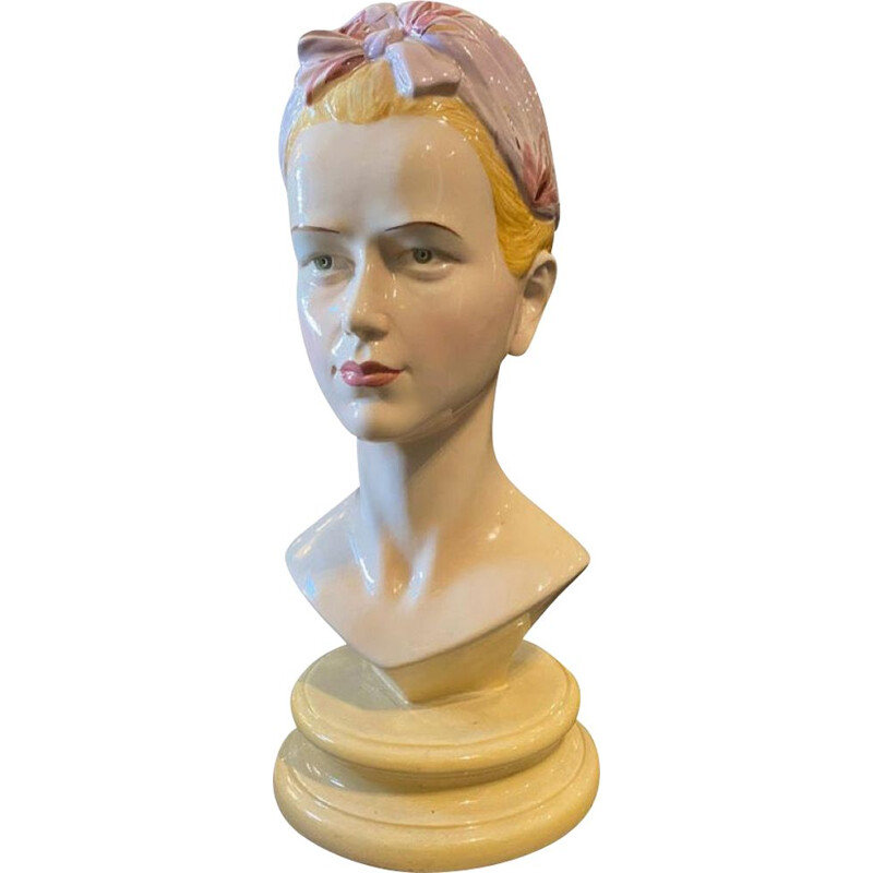Mid-century ceramic bust of a woman by Ronzan, Italy 1968