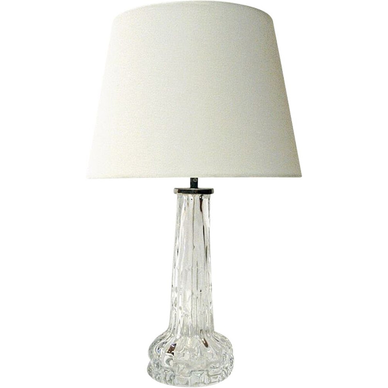 Swedish vintage crystal glass table lamp by Carl Fagerlund for Orrefors, 1950s