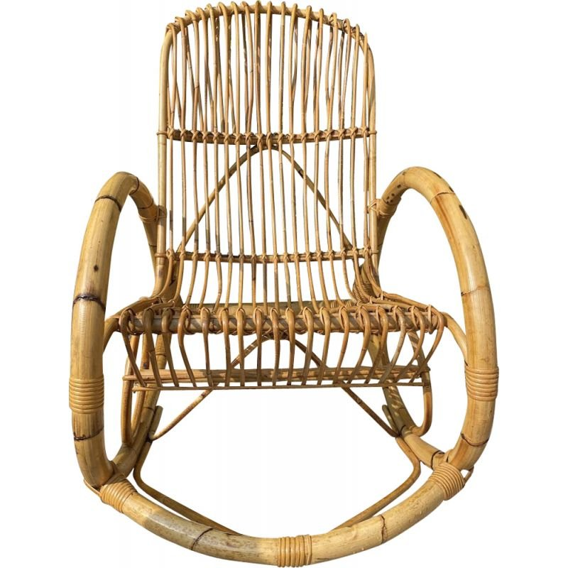 Vintage bamboo and rattan rocking chair by Francos Albini, 1950
