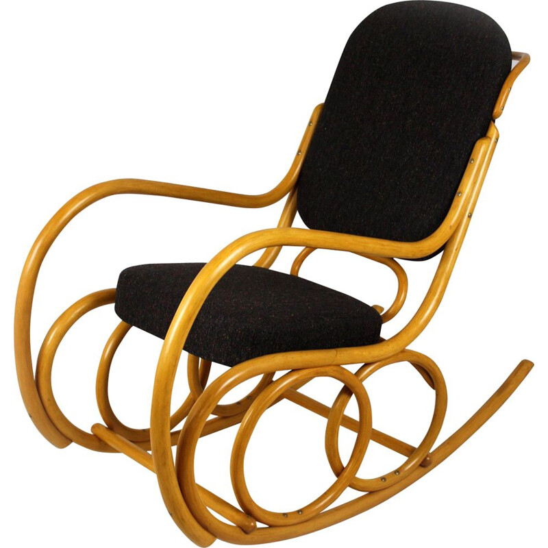 Mid-century beech bentwood rocking chair from TON, 1960s