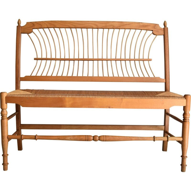 Swedish mid-century pine wood and paper cord bench