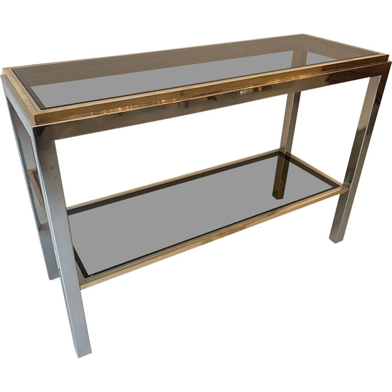Vintage two-tone console in brass, chrome and glass by Willy Rizzo, Italy 1970