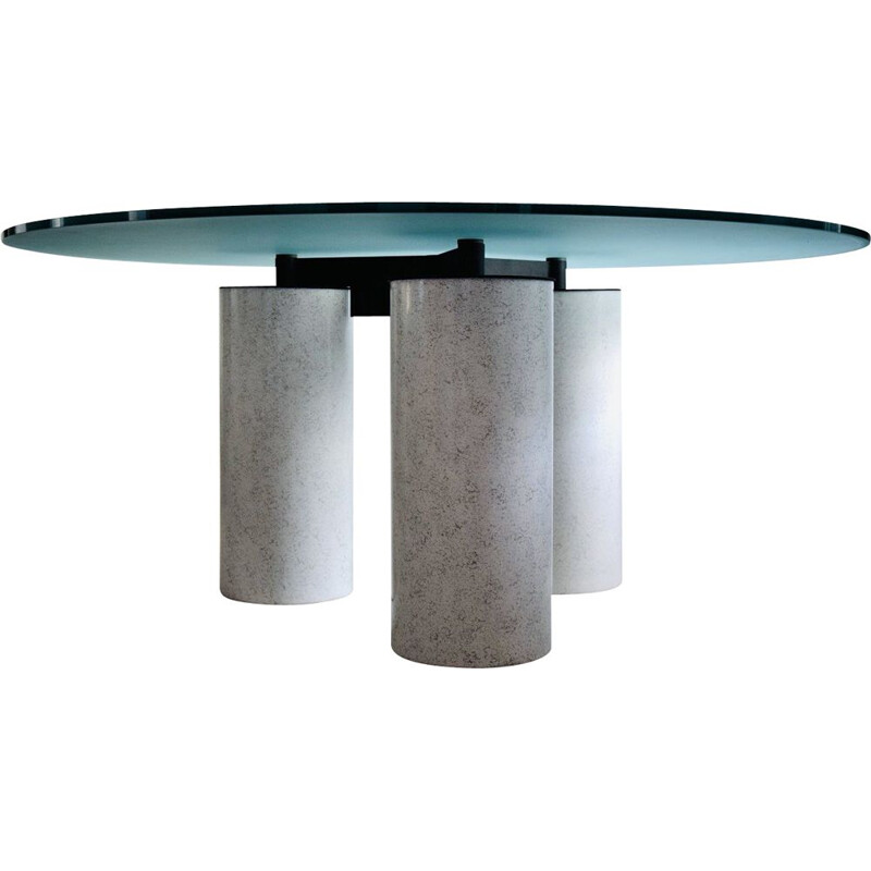 Italian vintage round glass top dining table by Lella and Massimo Vignelli for Acerbis, 1985