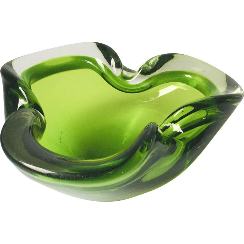 Vintage Sommerso Murano glass ashtray, Italy 1960s