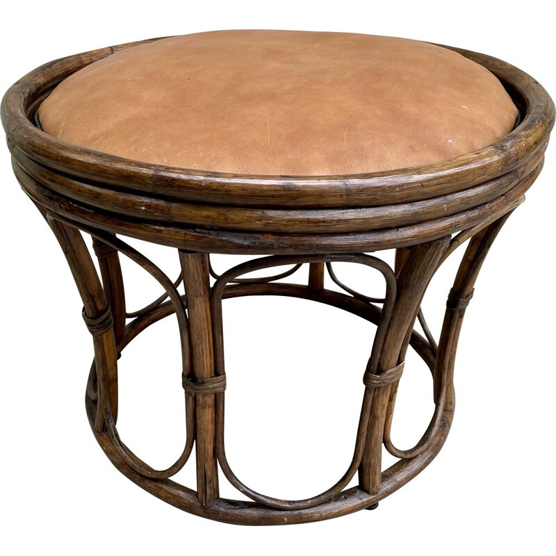 Rattan and leather vintage pouffe