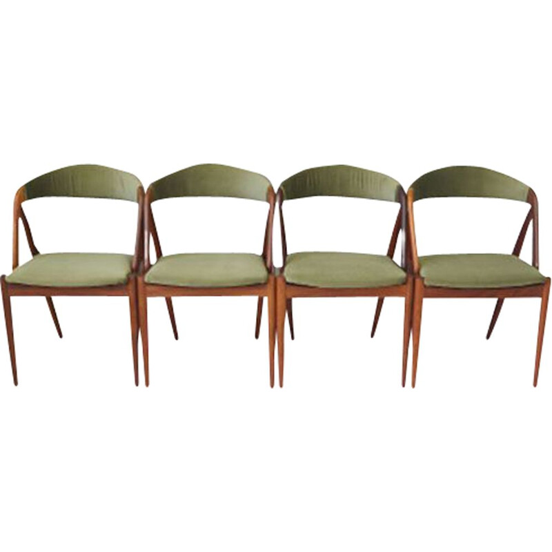 Set of 4 vintage rosewood and fabric chairs by Kai Kristiansen, Denmark 1970s