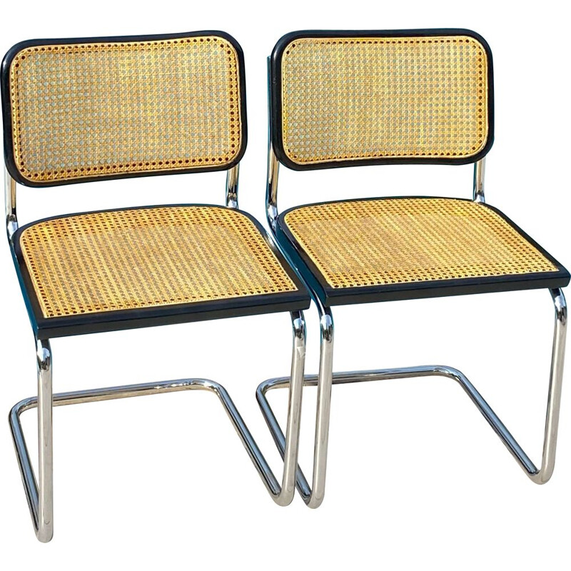 Pair of vintage Cesca B32 chairs by Marcel Breuer, Italy