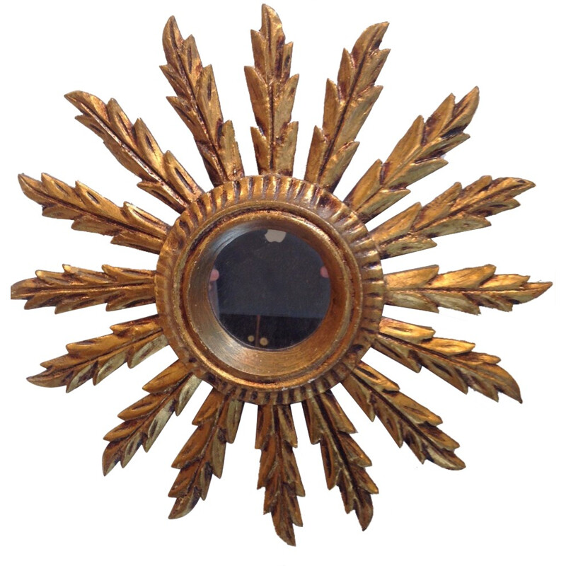 Small sun shaped mirror in gold coloured wood - 1960s