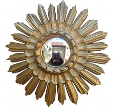 Mid-century mirror in gold coloured resin - 1950s