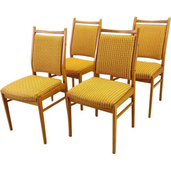 Set of four yellow chairs in beech wood - 1950s