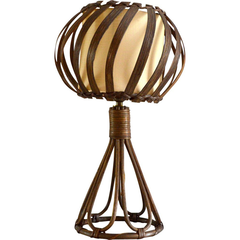 Vintage rattan table lamp by Louis Sognot, 1950