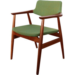 Office chair in teak and green wool, Erik KIRKEGAARD - 1970s