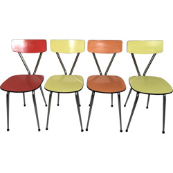 Set of 4 dining chairs in pastel colored formica - 1960s