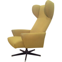 """Swivel """"Super Velur"""" armchair in yellow velvet and metal with high back - 1980s"""