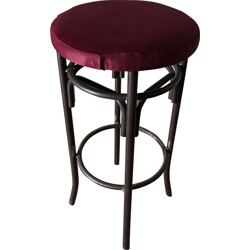 Set of 3 bar stools in metal and purple velvet - 1960s