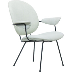 "Kembo ""302"" oval chair in linen , WH Gispen - 1950s"