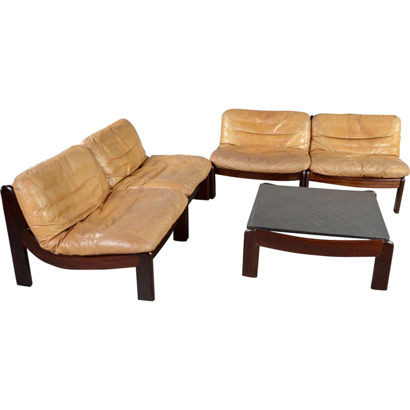 Vintage cognac leather and rosewood modular living room set