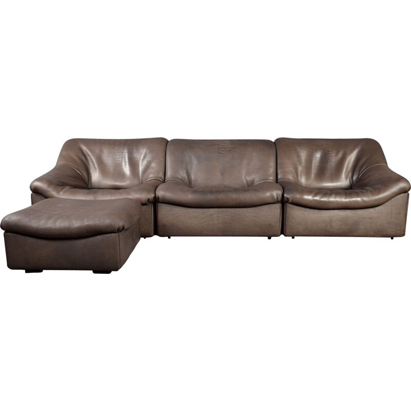 Vintage DS 46 modular sofa in brown bull leather by De Sede