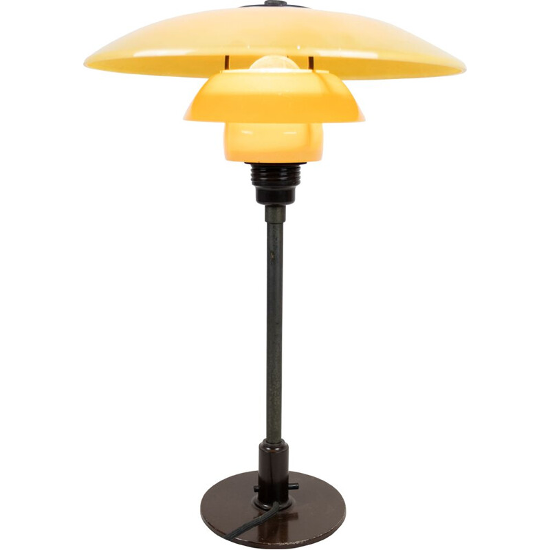Vintage PH 3-12 2-12 table lamp with burnished metal frame and yellow matt opal shades, 1933