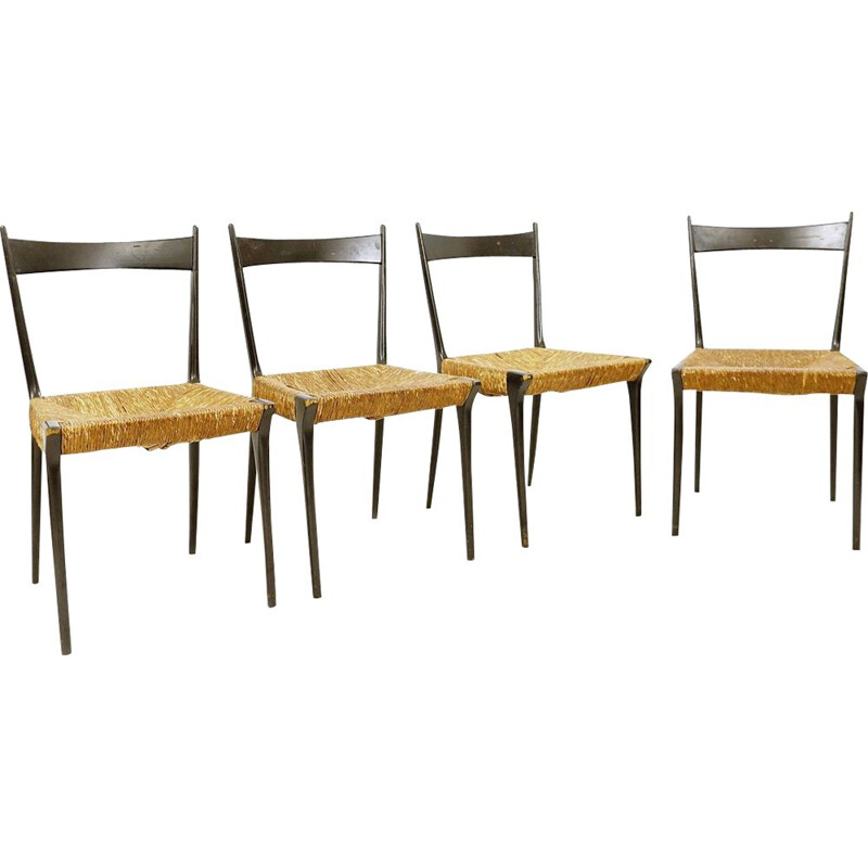 Set of 4 vintage S2 woven cane chairs by Alfred Hendrickx, 1950