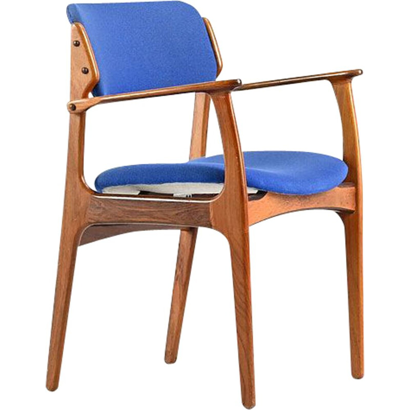 Vintage armchair in solid rosewood and blue fabric model 49 by Erik Buch for O. D. Møbler
