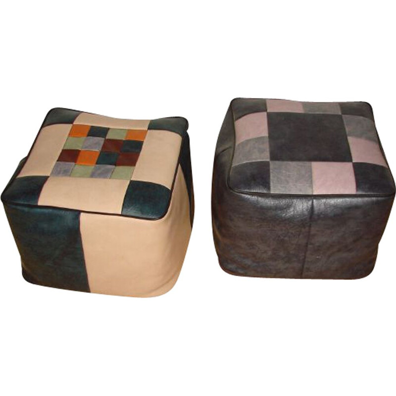 Pair of vintage ecological leather pouffes, 1970s