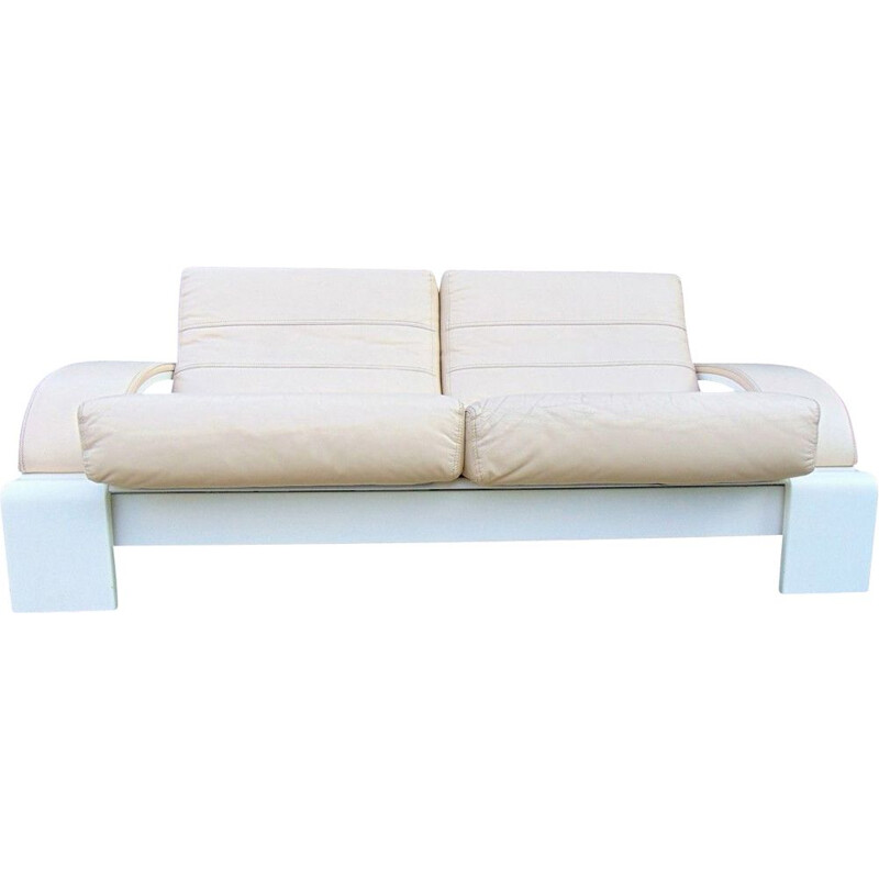 Mid century leather and lacquered wood roche bobois sofa