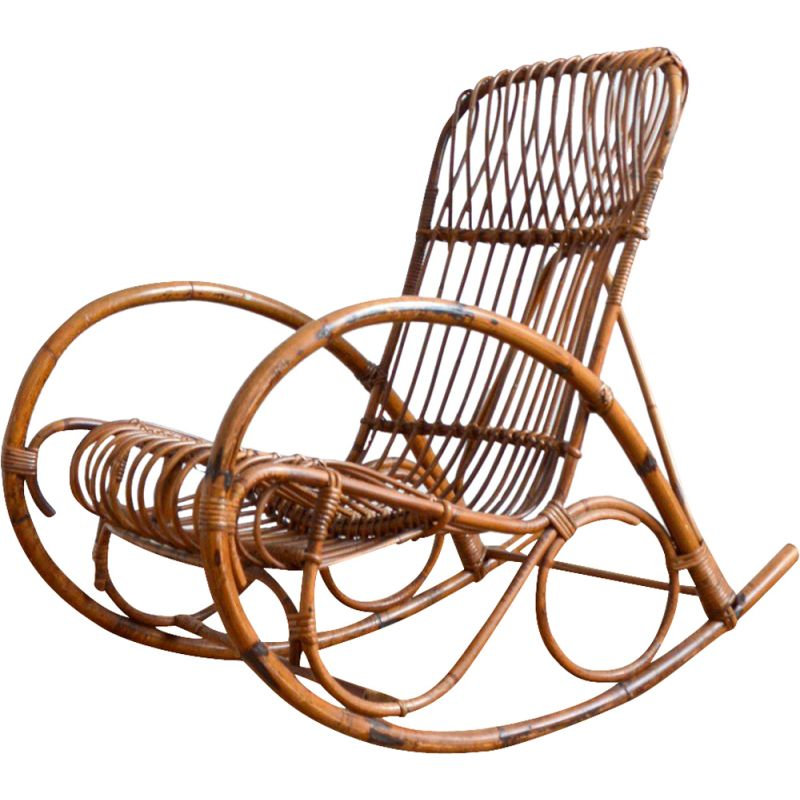 Vintage bamboo and rattan rocking chair by Rohe Noordwolde, 1950-1960