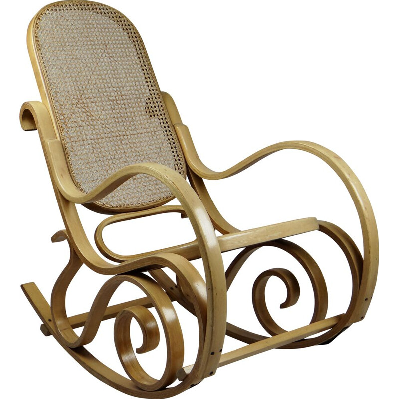 Vintage rocking chair in canage