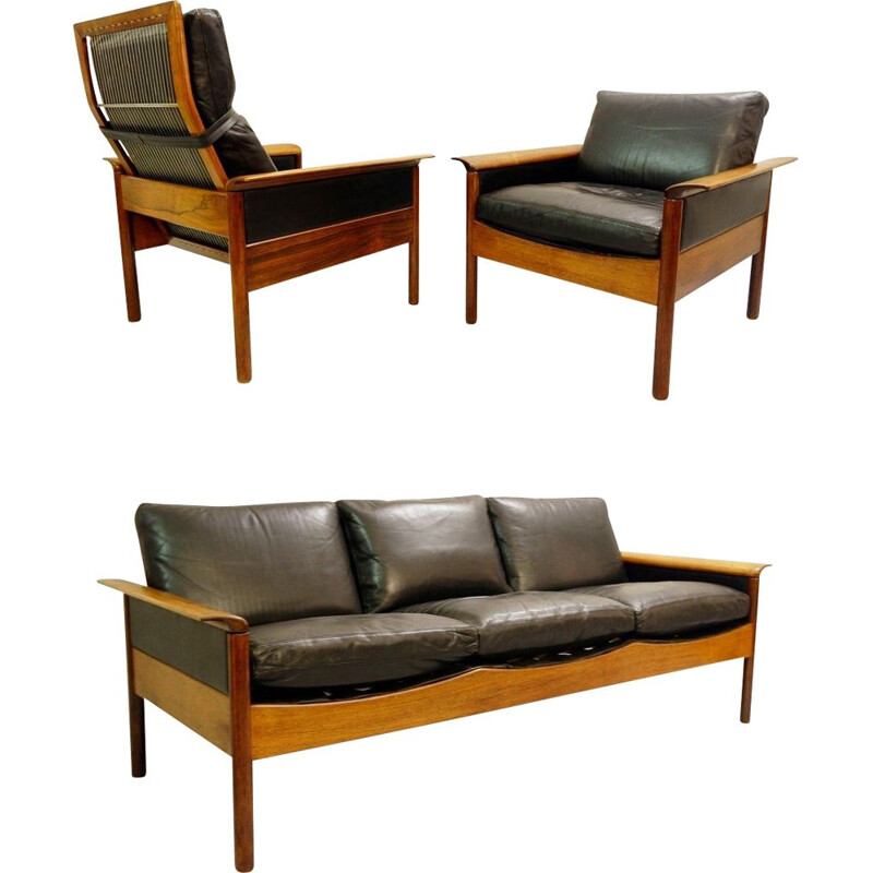 Mid-century living room set in black leather by Leolux, Netherlands 1970s