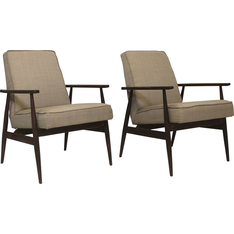 Pair of vintage armchairs 300-190 in beige fabric by Henryk Lis, 1970