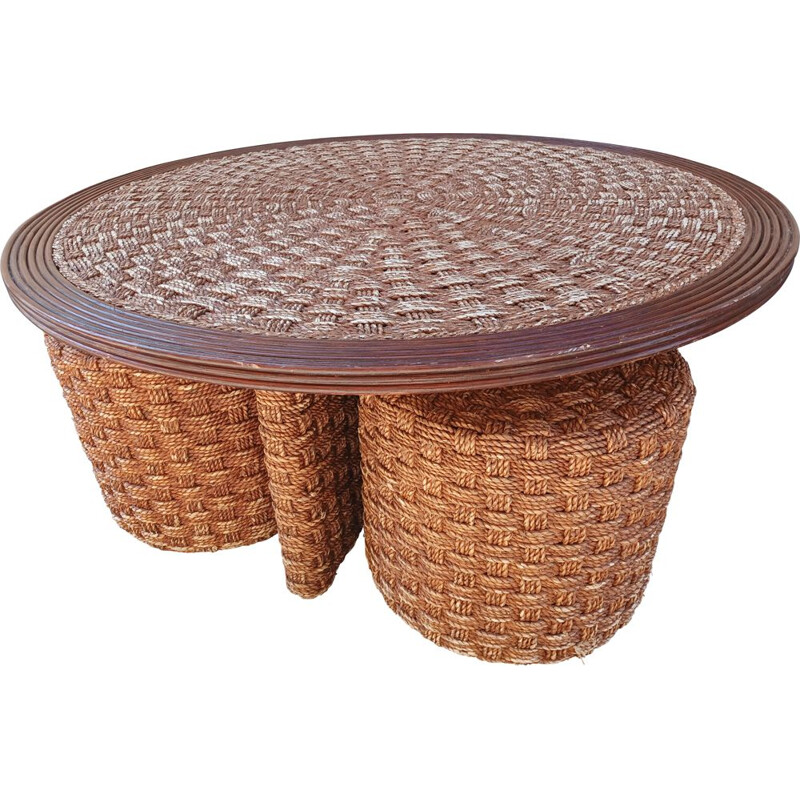 Set of vintage coffee table and 4 stools in braided rope