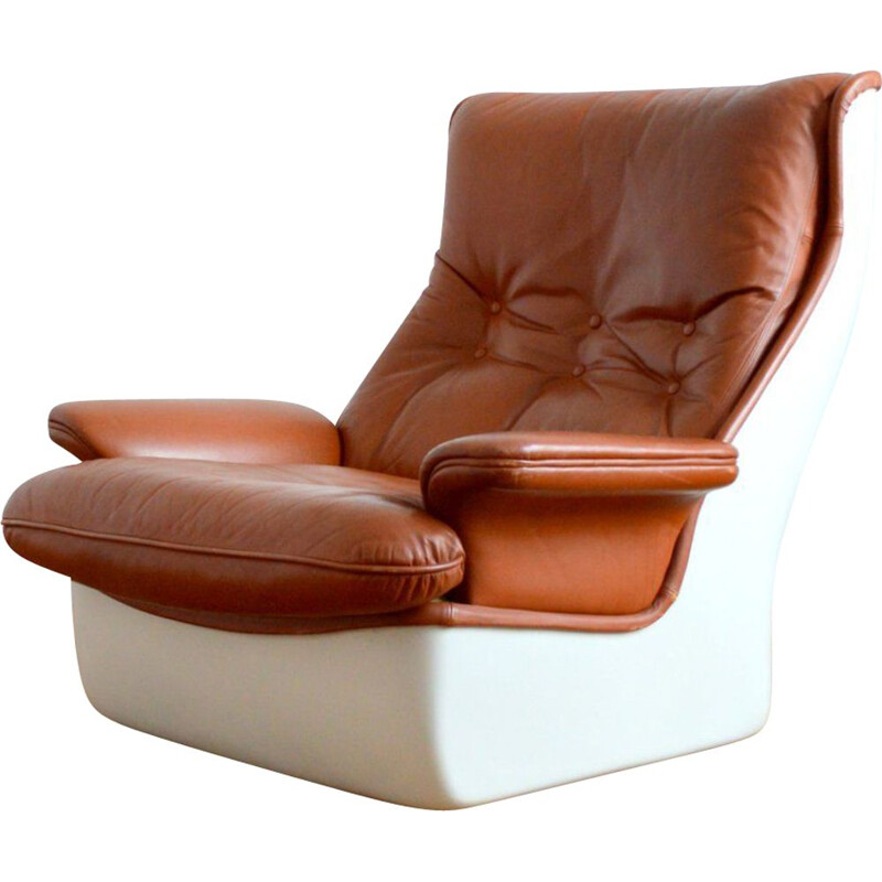 Vintage brown leather Orchid chair by Michel Cadestin for Airborne, 1970